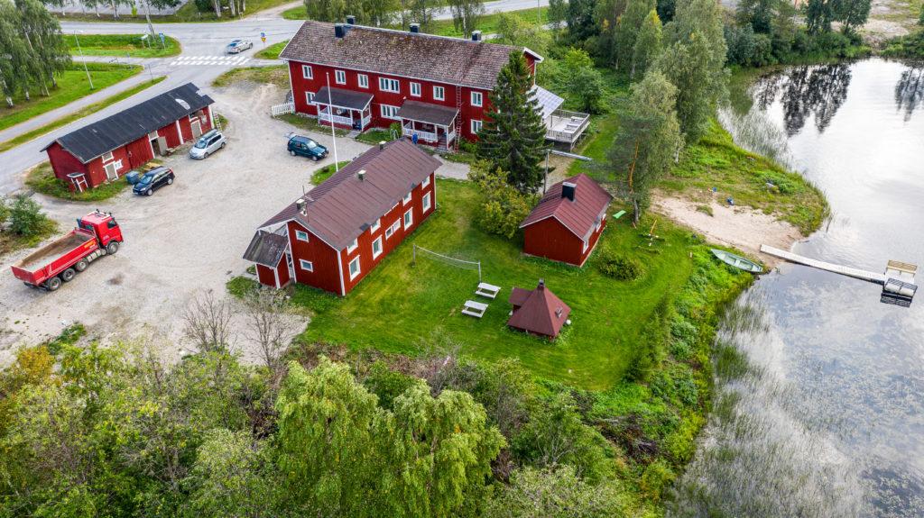 Majoitus Ranualla - ilmakuva Gasthaus Ranuasta kesällä 2019