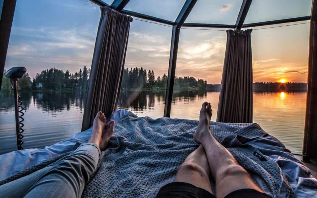 Näkymät AuroraHut lasi-iglusta nähtynä Ranualla kesällä 2019