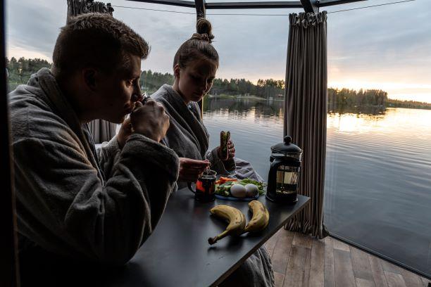 Ranuanjärven maisema AuroraHut iglusta käsin Ranualla