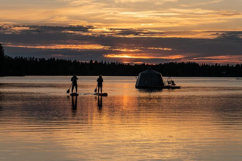 SUP boarding at lake Ranua during summer 2020