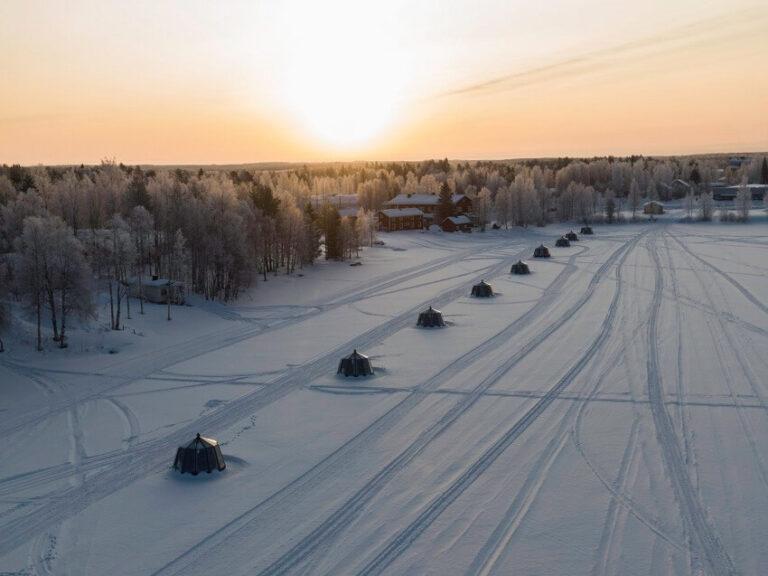 Snowmobile tracks at lake Ranua