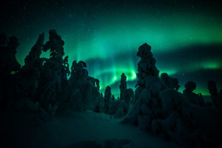 Northern lights in Lapland in winter