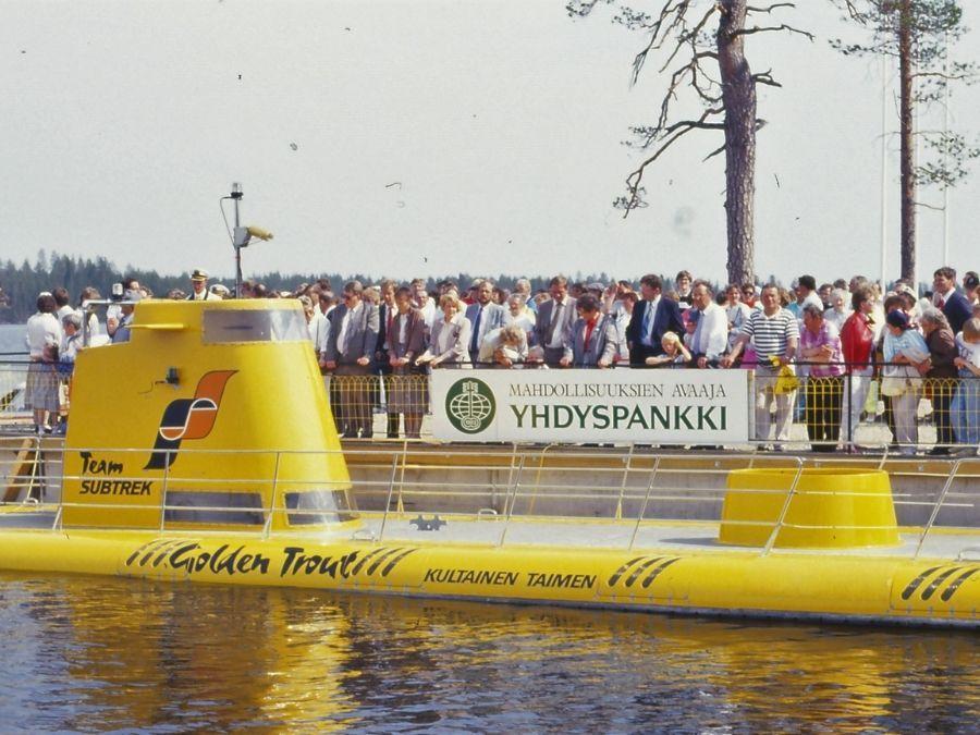 The Golden trout submarine at lake Simojärvi in Ranua
