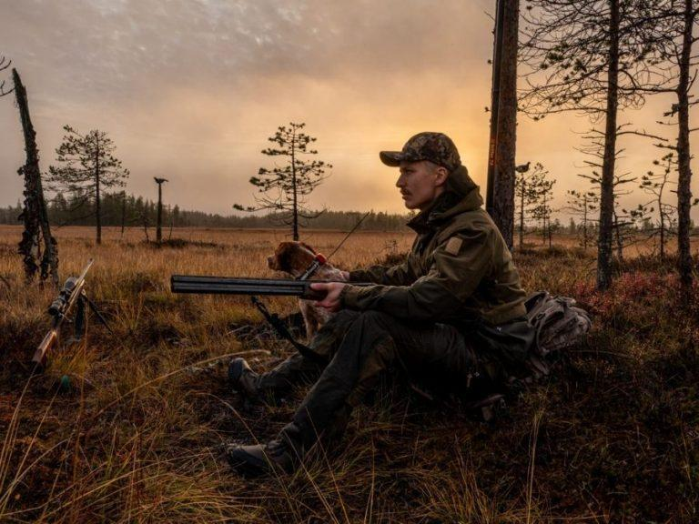 Grouse hunting with a dog in Ranua