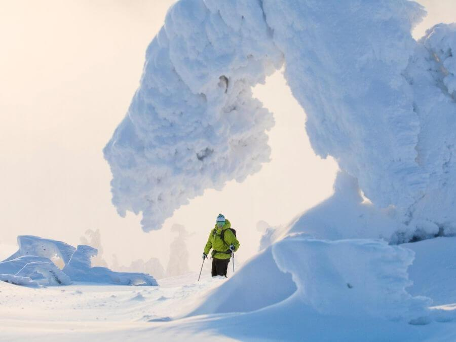 Downhill skiing in Finnish Lapland