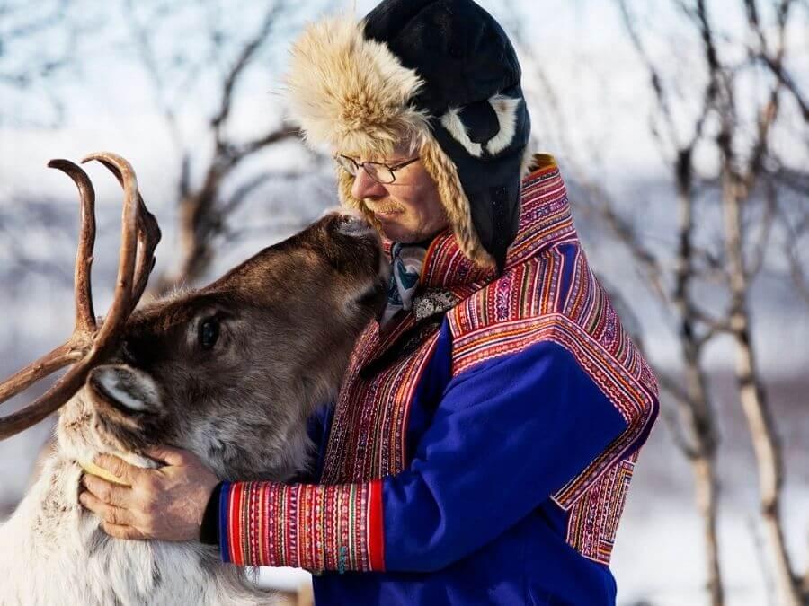 Sámi reindeer herder in Finnish Lapland