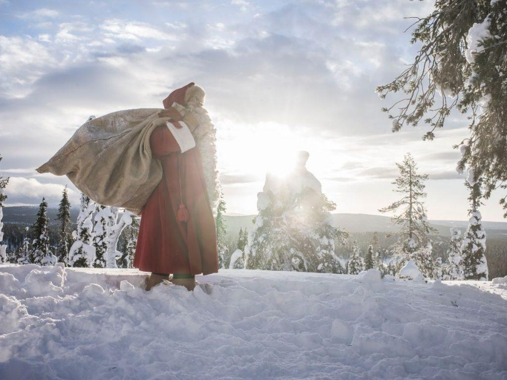 Santa Claus pictured in a fell in Finland