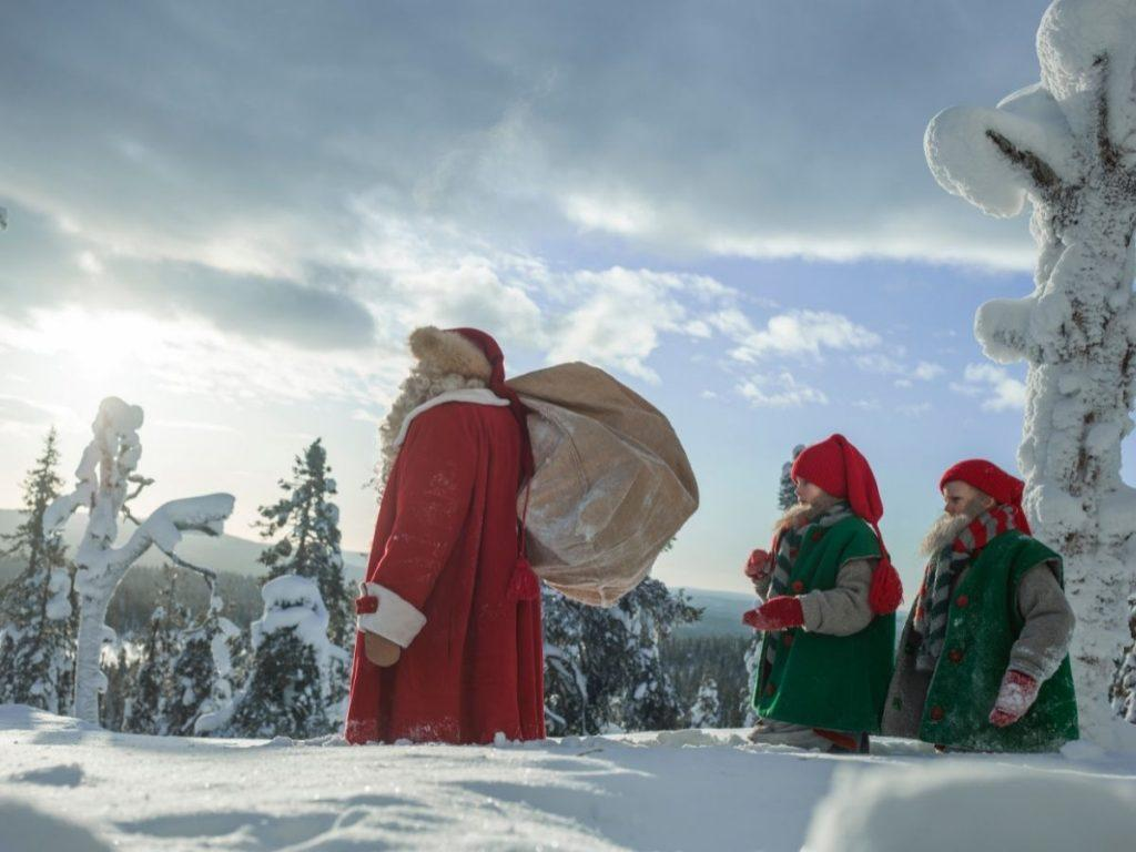 Santa Claus and Christmas elves in Finnish Lapland