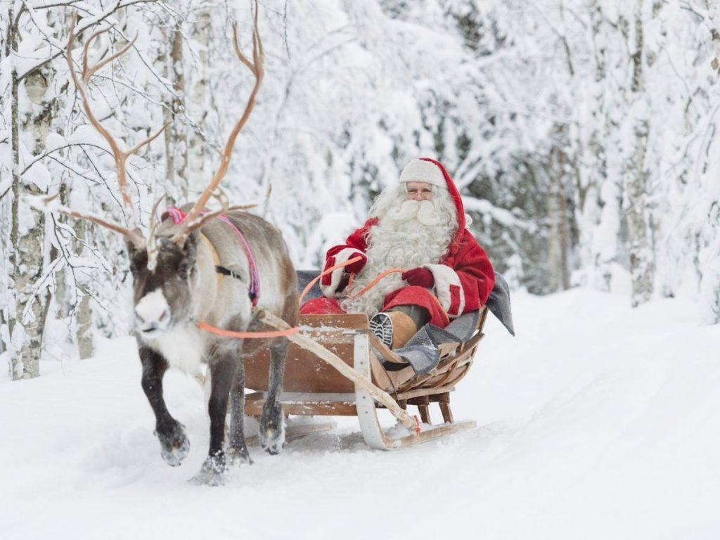 Santa Claus' sleigh and reindeer