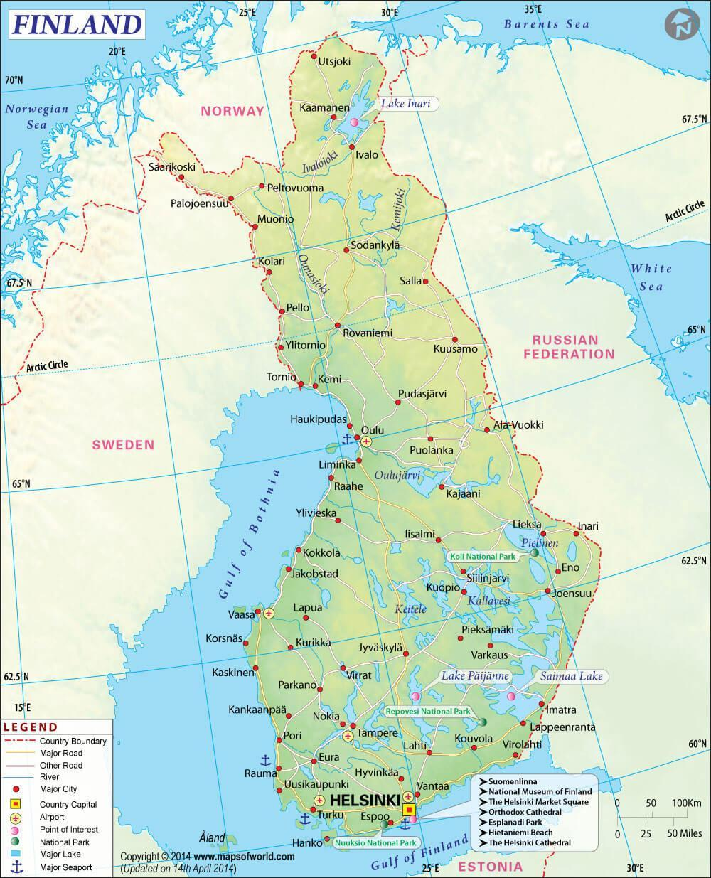 The map of Finland