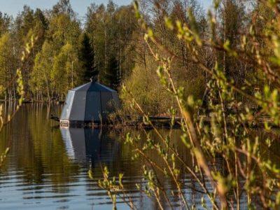 AuroraHut glass igloo at lake Ranua in Finnish Lapland